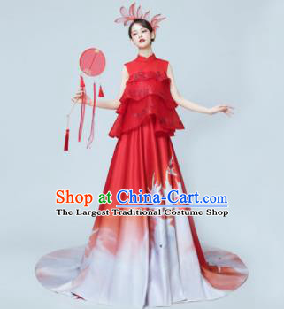 Chinese National Catwalks Printing Red Trailing Cheongsam Traditional Costume Tang Suit Silk Qipao Dress for Women