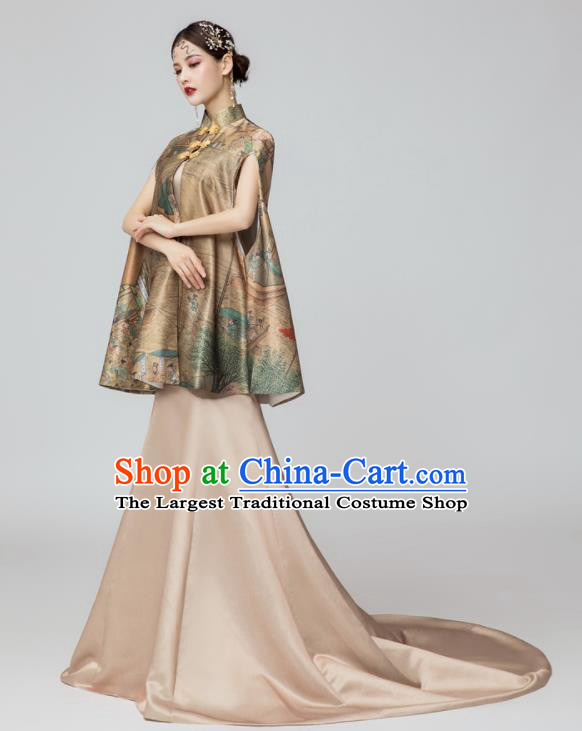 Chinese National Catwalks Printing Brown Silk Cheongsam Traditional Costume Tang Suit Qipao Dress for Women