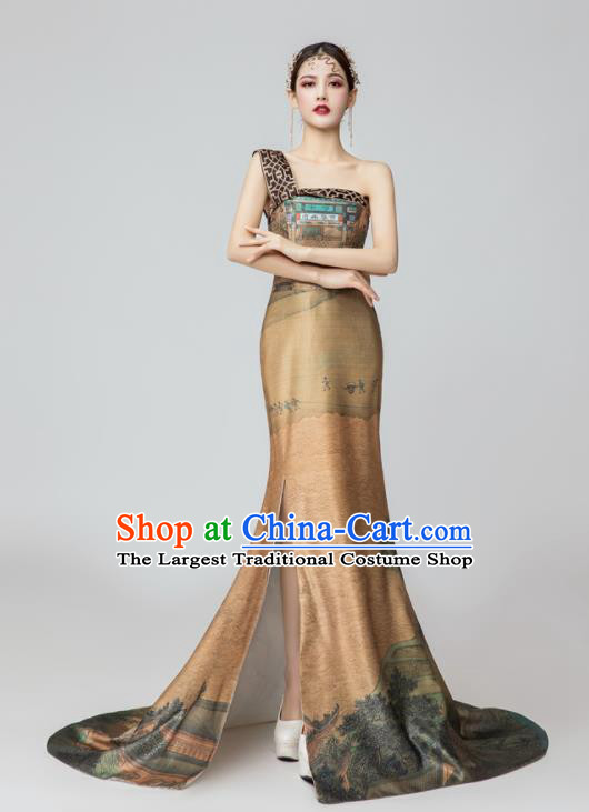 Chinese National Catwalks Printing Brown Silk Trailing Cheongsam Traditional Costume Tang Suit Qipao Dress for Women