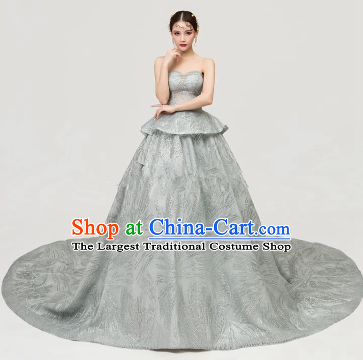 Top Grade Catwalks Full Dress Chorus Compere Modern Dance Party Grey Veil Trailing Costume for Women