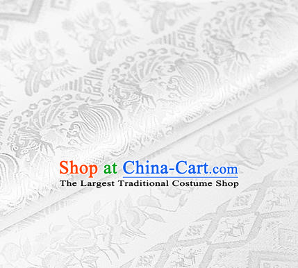 Asian Chinese Traditional Royal Pattern White Brocade Cheongsam Silk Fabric Chinese Satin Fabric Material