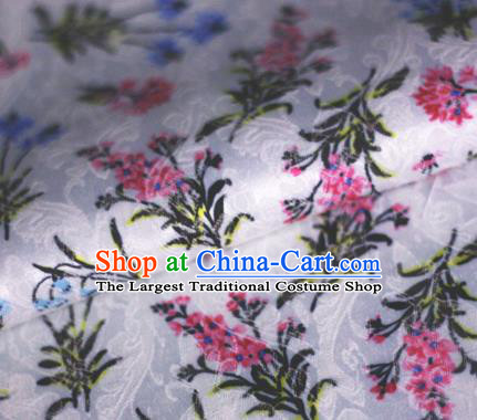 Asian Chinese Classical Orchid Pattern White Brocade Cheongsam Silk Fabric Chinese Traditional Satin Fabric Material