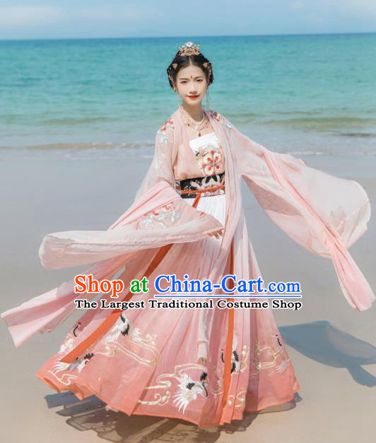 Chinese Ancient Nobility Lady Embroidered Hanfu Dress Traditional Tang Dynasty Court Princess Historical Costume for Women