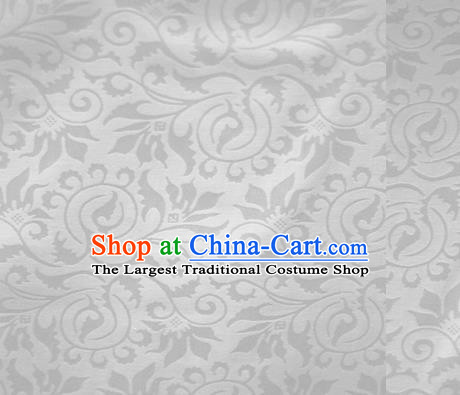 Chinese White Brocade Classical Scroll Pattern Design Satin Cheongsam Silk Fabric Chinese Traditional Satin Fabric Material