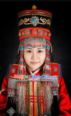 Chinese Traditional Mongol Nationality Wedding Hair Accessories Mongolian Ethnic Bride Hat Headwear for Women