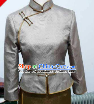 Chinese Traditional Mongolian Ethnic Grey Blouse Mongol Nationality Shirt Costume for Women
