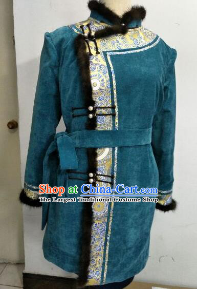 Chinese Traditional Mongolian Ethnic Green Coat Mongol Nationality Female Dress Costume for Women
