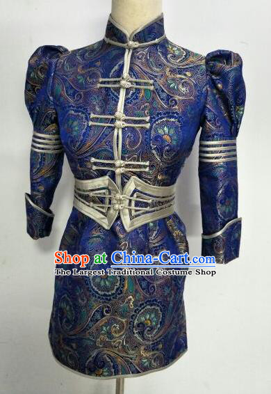Chinese Traditional Mongolian Ethnic Royalblue Robe Mongol Nationality Female Dress Costume for Women