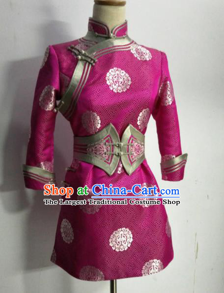 Chinese Traditional Mongolian Ethnic Rosy Robe Mongol Nationality Female Dress Costume for Women