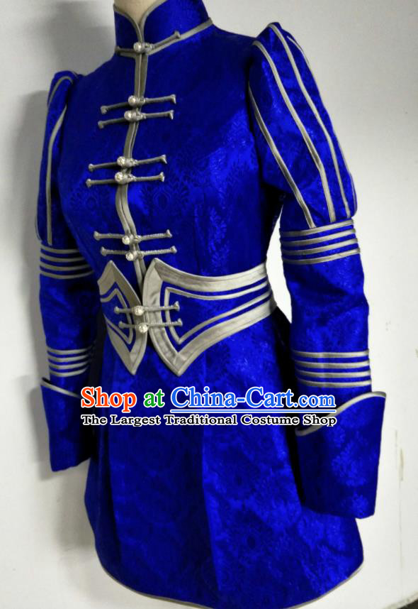 Chinese Traditional Mongolian Ethnic Deep Blue Robe Mongol Nationality Female Dress Costume for Women