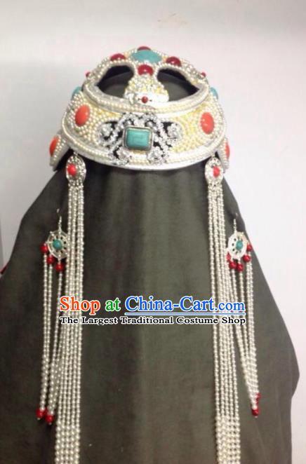 Chinese Traditional Mongol Nationality Sliver Hair Accessories Mongolian Ethnic Wedding Royal Crown Headwear for Women