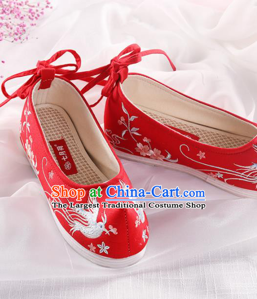 Chinese Traditional Hanfu Shoes Embroidered Swallow Red Shoes Handmade Ancient Princess Shoes for Women