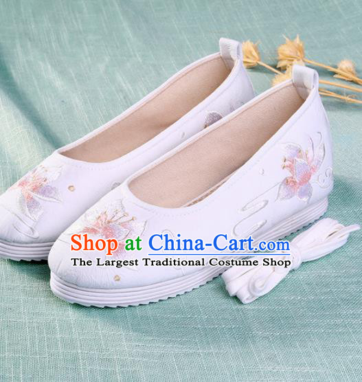 Chinese Traditional Embroidered Lotus White Shoes Hanfu Cloth Shoes Handmade Ancient Princess Shoes for Women