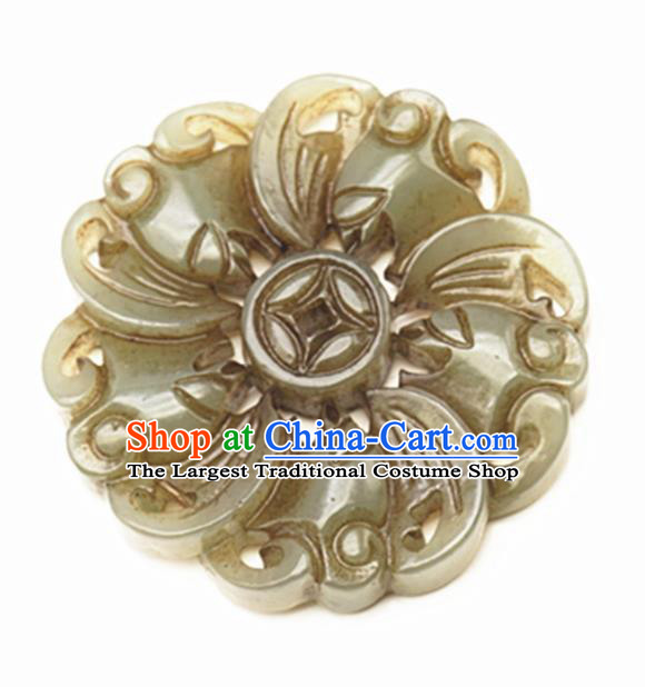 Handmade Chinese Carving Copper Jade Pendant Traditional Jade Craft Jewelry Accessories