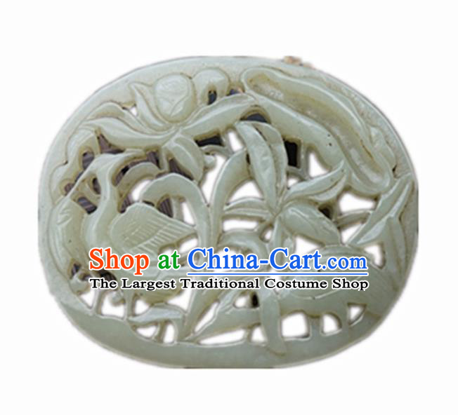 Handmade Chinese Carving Crane Lotus Jade Pendant Traditional Jade Craft Jewelry Accessories