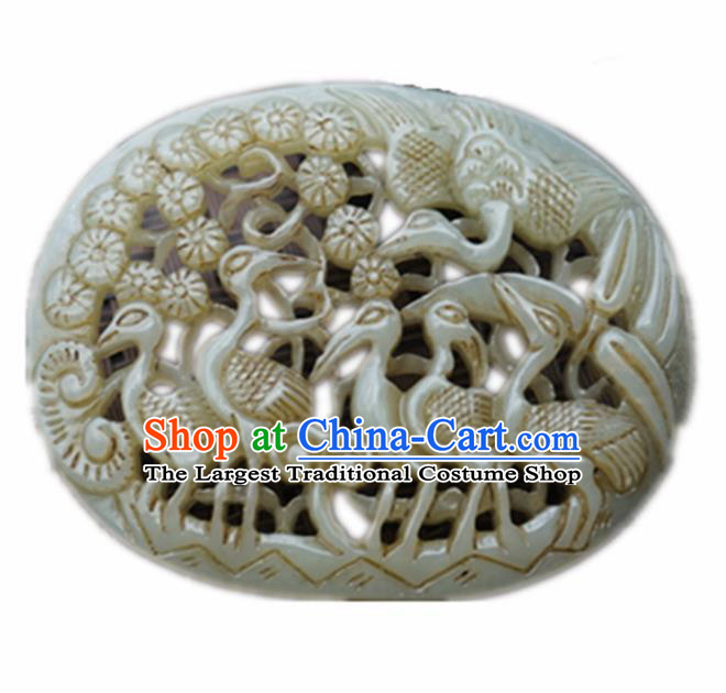 Handmade Chinese Jade Carving Cranes Pendant Traditional Jade Craft Jewelry Accessories