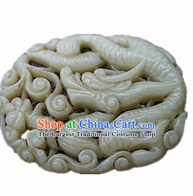 Handmade Chinese Jade Carving Dragon Pendant Traditional Jade Craft Jewelry Accessories