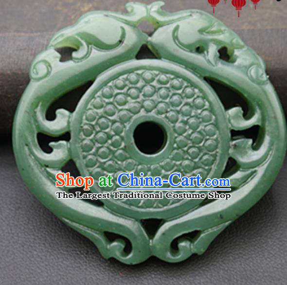 Handmade Chinese Jade Carving Dragon Phoenix Pendant Traditional Jade Craft Jewelry Accessories