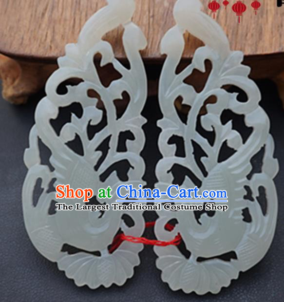 Handmade Chinese Jade Carving Phoenix Pendant Traditional Jade Craft Jewelry Accessories