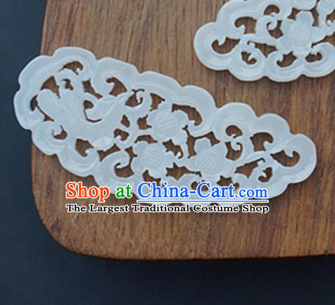 Handmade Chinese Jade Carving Plum Blossom Pendant Traditional Jade Craft Jewelry Accessories