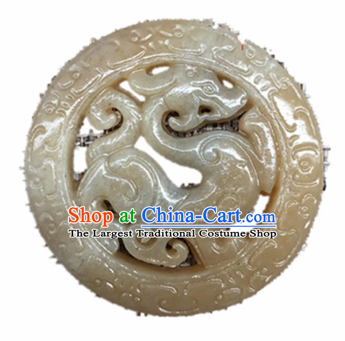 Handmade Chinese Jade Carving King Dragon Pendant Traditional Jade Craft Jewelry Accessories