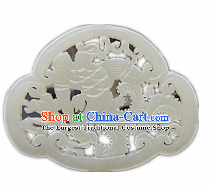 Handmade Chinese Jade Carving Cloud Phoenix Pendant Traditional Jade Craft Jewelry Accessories