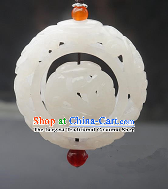 Handmade Chinese White Jade Carving Pendant Traditional Jade Craft Jewelry Accessories