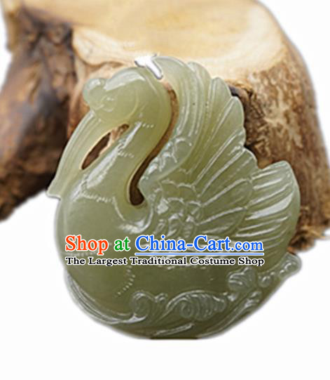 Handmade Chinese Jade Carving Swan Pendant Traditional Jade Craft Jewelry Accessories