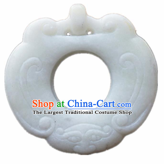 Handmade Chinese Jade Carving Cloud Pendant Traditional Jade Craft Jewelry Accessories