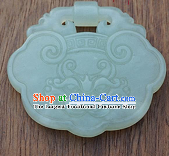 Handmade Chinese Jade Carving Auspicious Beast Pendant Traditional Jade Craft Jewelry Accessories