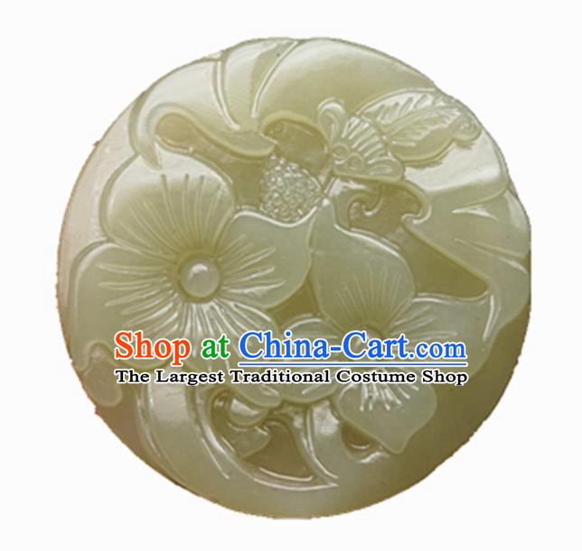 Handmade Chinese Jade Carving Bat Flowers Pendant Traditional Jade Craft Jewelry Accessories