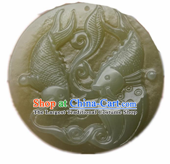 Handmade Chinese Jade Carps Pendant Traditional Jade Craft Jewelry Accessories