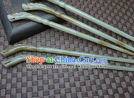 Chinese Handmade Jade Hairpins Carving Dragon Head Jade Hair Clip Hair Accessories for Women for Men