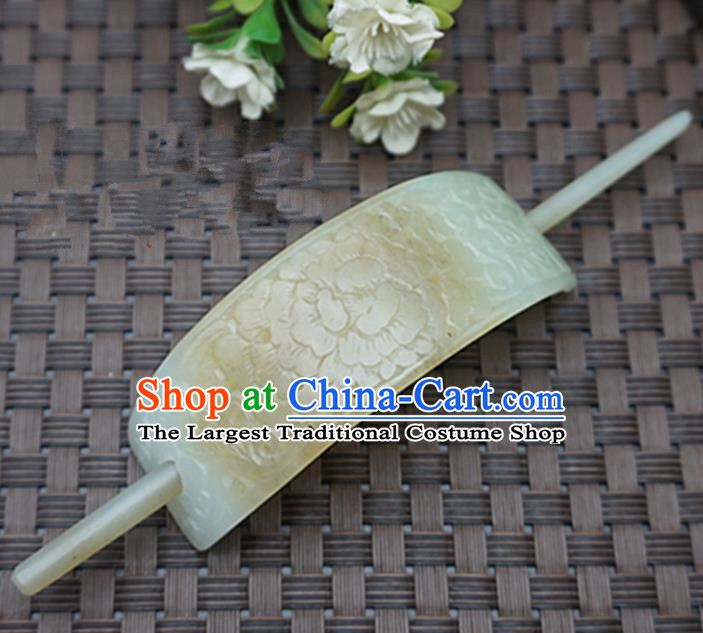 Chinese Handmade Jade Hairpins Carving Peony Jade Hairdo Crown Hair Accessories for Women for Men