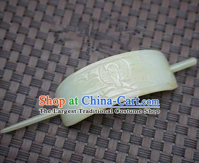 Chinese Handmade Jade Hairpins Carving Jade Hairdo Crown Hair Accessories for Women for Men