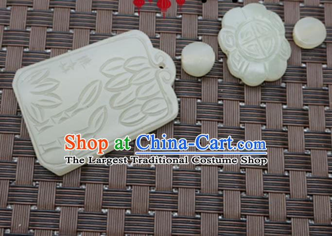 Handmade Chinese Jade Carving Bamboo Pendant Traditional Jade Craft Jewelry Accessories