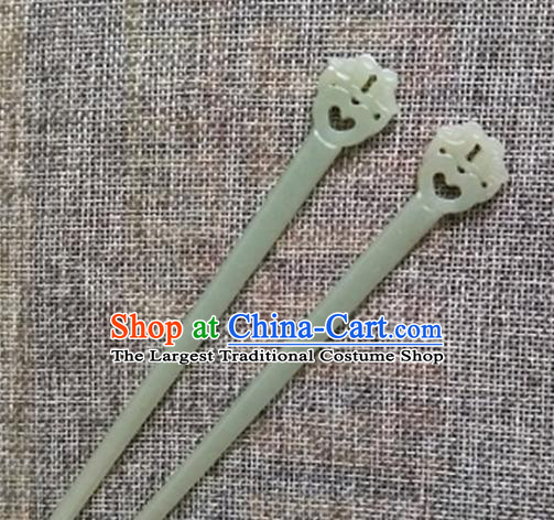 Chinese Handmade Jade Hairpins Carving Mandarin Duck Jade Hair Clip Hair Accessories for Women for Men