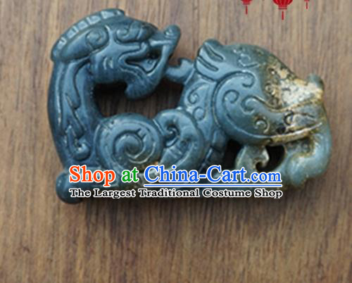 Handmade Chinese Ancient Gray Jade Carving Pi Xiu Pendant Traditional Jade Craft Jewelry Accessories