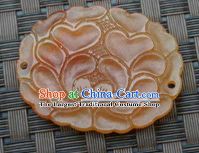 Handmade Chinese Ancient Yellow Jade Carving Peony Pendant Traditional Jade Craft Jewelry Accessories