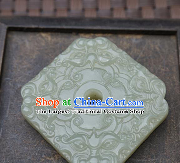 Handmade Chinese Ancient Jade Carving Square Pendant Traditional Jade Craft Jewelry Accessories