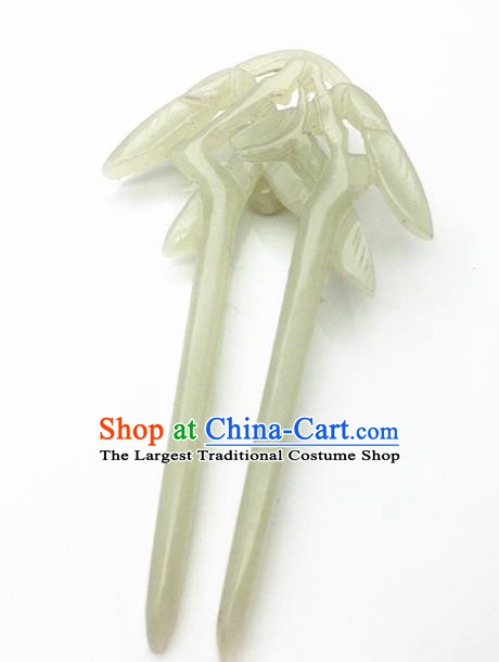 Chinese Handmade Jade Hairpins Ancient Carving Bamboo Jade Hair Clip Hair Accessories for Women for Men