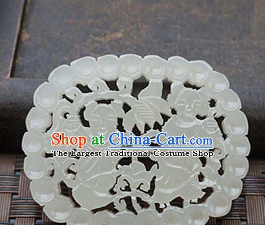 Handmade Chinese Ancient Jade Carving Children Pendant Traditional Jade Craft Jewelry Accessories