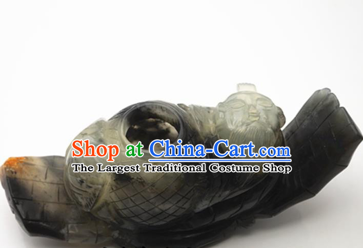 Handmade Chinese Ancient Jade Carving Boat Pendant Traditional Jade Craft Jewelry Decoration Accessories