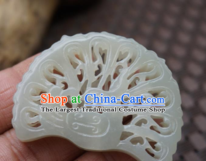 Handmade Chinese Ancient Jade Carving Peacock Pendant Traditional Jade Craft Jewelry Decoration Accessories