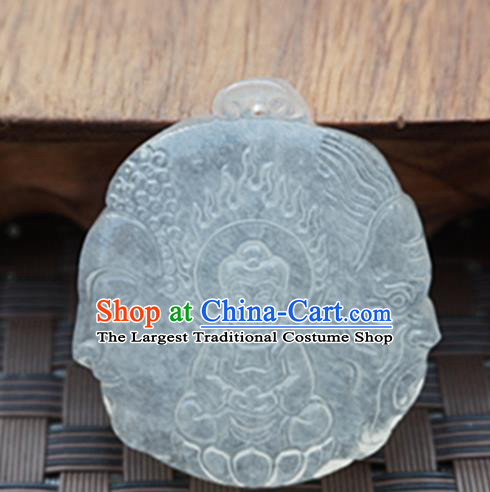 Handmade Chinese Ancient Jade Carving Buddha Statue Pendant Traditional Jade Craft Jewelry Decoration Accessories