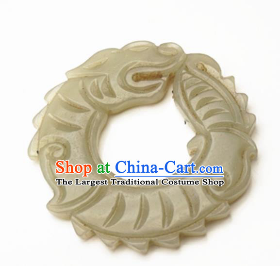 Handmade Chinese Carving Dragon Jade Pendant Traditional Jade Craft Jewelry Accessories