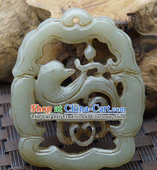 Handmade Chinese Carving Magpie Jade Pendant Traditional Jade Craft Jewelry Accessories