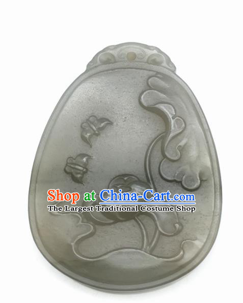 Chinese Handmade Jade Craft Carving Lotus Jade Jewelry Accessories Jade Necklace Pendant