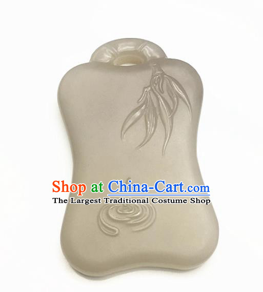 Chinese Handmade Jade Craft Carving Bamboo Jade Jewelry Accessories Jade Necklace Pendant