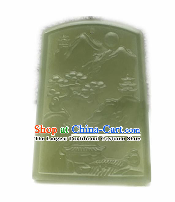 Chinese Handmade Jade Craft Carving Pavilion Jade Jewelry Accessories Jade Necklace Pendant